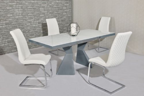 GA ROMANA Gloss 140 / 175 cm EXTENDING Grey & White Table & Chairs - 3 Colours